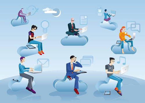 Cloud-Computing---People-on-Clouds